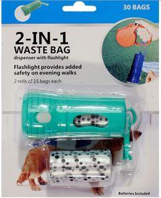 NEW 2 IN 1 BAG DISPENSER + FLASHLIGHT TORCH DOG WALK WASTE PET POOP DOGGIE BAGS