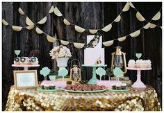 mint pink gold dessert table, mint pink gold wedding colors
