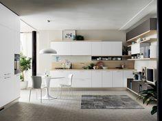 Fresh design horizons for the contemporary kitchen Mint Kitchen, Style Deco, Kitchen Corner, Cuisines Design, Kitchen Cabinets, Contemporary, Interior, Table, Furniture
