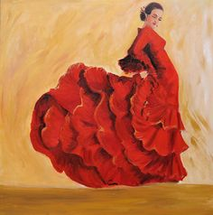 Flamenco Dancer Art Print on Paper- Flamenco dancer in red dress painting  - Earth Tone Back Ground art. #bestofEtsy #gifts