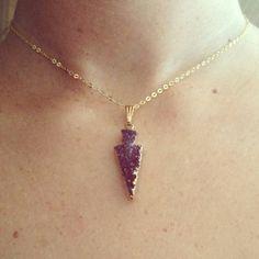 Amethyst Druzy Arrowhead Necklace