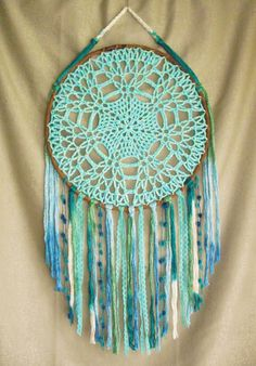 Large teal aqua blue dreamcatcher Dream catcher by WebOfMagic Dream Catcher Bedroom, Doily Dream Catchers, Dream Catcher Craft, Dream Catcher Boho, Hippie Crochet, Crochet Owls, Crochet Dreamcatcher, Crafts To Make And Sell, Sell Diy