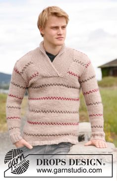 "Knitted DROPS jumper for men with stripes and shawl collar in ""Eskimo"". Size: S to XXXL. ~ DROPS Design"