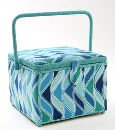 Sewing Basket-Large Square Blue Wave
