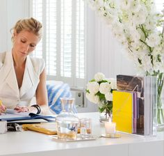 Gweneth Pawthrow with no technology in sight? Pretty good, or she has others do that part of her work! Love her exaggerated bouquet. #FengShui #Office Read more at http://patricialee.me/2012/07/27/feng-shui-office-tips-for-you-desk/