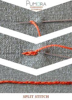 Pumora's embroidery stitch-lexicon: the split stitch