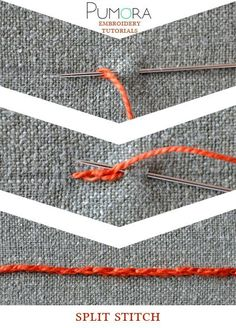 Pumora's embroidery stitch-lexicon: the split stitch