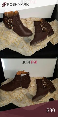 "Boots Wore once too high for my ankles 4"" wide heels. Inside zipper. Brown w/ gold accent buckles. Booties are in for fall. JustFab Shoes Ankle Boots & Booties"