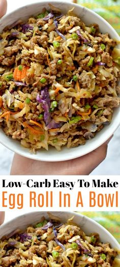 Low-Carb Easy To Make Egg Roll In A Bowl – Sharing a new favorite egg roll in a bowl! One of the easy and tastiest meals you will ever have! calorie meals Low-Carb Easy To Make Egg Roll In A Bowl – Sharing a new favorite egg roll in a bowl! Healthy Low Carb Recipes, Low Carb Dinner Recipes, Keto Recipes, Cooking Recipes, Low Carb Easy Dinners, Healthy Low Carb Meals, Easy Diabetic Meals, Vegetarian Recipes, Easy Egg Recipes
