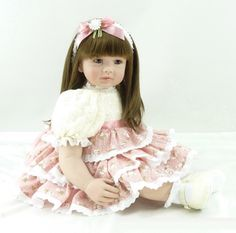 103.99$  Watch here - http://aliw6n.shopchina.info/go.php?t=32620229875 - 22 inch 55cm Silicone baby reborn dolls Children's toys beautiful flower skirt girl 103.99$ #buyonlinewebsite