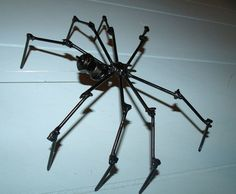 black spider metal sculpture halloween decoration by articklesme 1995 - Metal Halloween Decorations