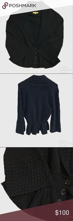 Catherine Malandrino 100% Cashmere Peplum Cardi Excellent condition! Black 100% Cashmere cardigan with 3/4 bell sleeves and peplum hem. Catherine Malandrino Sweaters Cardigans