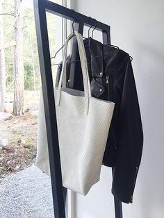 Sofia Agardtson Raw Leather Tote Bag in white perforated leather. Tote Bag, Detail, Leather, Bags, Fashion, Handbags, Moda, Fashion Styles, Totes