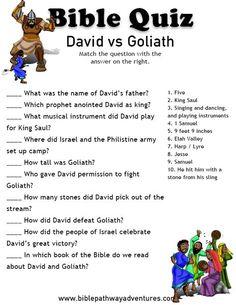 Printable Torah Bible quiz - David and Goliath.