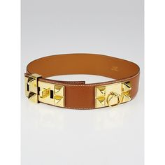 Pre-owned Hermes Gold Courchevel Leather Gold Plated Collier de Chien... ($795) ❤ liked on Polyvore featuring accessories, belts, gold leather belt, gold belts, 100 leather belt, gold plated belt and hermes belt
