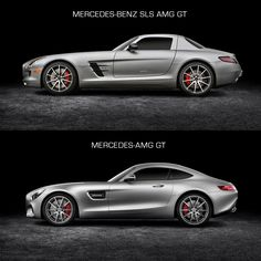 Mercedes-Benz SLS AMG GT and Mercedes-AMG GT - Design Comparison Comparison of two different product by the same manufacturer to show added value. Mercedes Auto, Mercedes Benz Amg, Benz Car, Nissan Gt R, Nissan 370z, Bmw M3, Carl Benz, Daimler Benz, Gt Cars