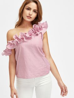 To find out about the Lettuce Edge Frill Asymmetric Shoulder Striped Top at SHEIN, part of our latest Blouses ready to shop online today! Casual Dresses, Casual Outfits, Fashion Dresses, Cute Outfits, Western Outfits, Western Wear, Blouse Styles, Blouse Designs, Mein Style