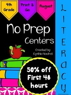 NO PREP Literacy Centers for August (Back to School) is a unit full of hands-on, engaging, fun literacy activities that are ready to PRINT & GO!No Prep Literacy centers will keep your students engaged and enjoying learning while making sure they are getting the necessary reading and language skills as they complete spiral reviews of concepts each month throughout the year.