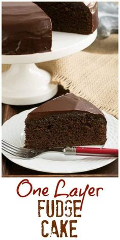 One Layer Fudge Cake - Rich, delectable and perfect when you don't need to feed a crowd! ~ That Skinny Chick Can Bake Best Dessert Recipes, Cupcake Recipes, Baking Recipes, Delicious Desserts, Cupcake Cakes, Cupcakes, Baking Ideas, Yummy Recipes, Perfect Chocolate Cake