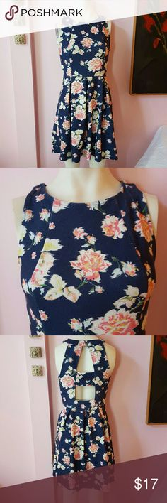 Floral dress This floral dress looks adorable on it has pleats  the back has open cut outs and it buttons at the top Size small petite Wonderful spring colors of blue paint green and white Also great for summer Xhilaration Dresses Mini