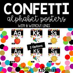 Confetti and Black Alphabet Posters with 2 options - with and without handwriting lines.