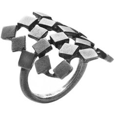 Von Lotzbeck Square Ring Puzzle oxidised Sterling Silver (€225) ❤ liked on Polyvore featuring jewelry, rings, black, sterling silver square ring, oxidized sterling silver jewelry, sterling silver rings, oxidized ring и sterling silver jewelry