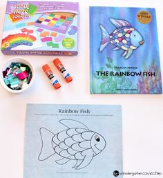 """This rainbow fish craft is the perfect companion to the beloved book """"The Rainbow Fish."""" It is so bright and colorful - kids love it! Friendship Crafts, Friendship Theme, Friendship Activities, Ocean Activities, Color Activities, Literacy Activities, Toddler Activities, Preschool Monthly Themes, Preschool Crafts"""