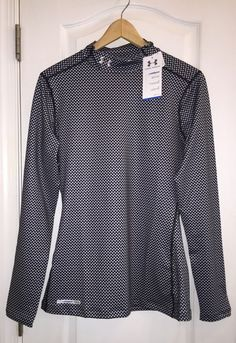 NWT Under Armour Boys Armour Mock Coldgear Fitted Long Sleeve Red Gray Black $50