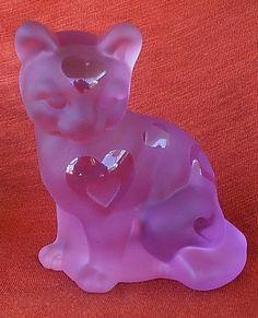 FENTON SAND CARVED PINK SATIN GLASS CAT
