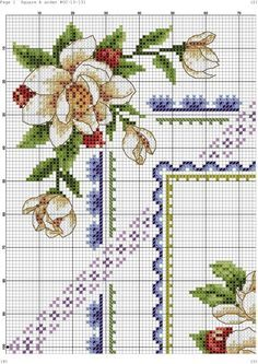 Cross stitch - flowers: Magnolia and fruit (chart - part A1)