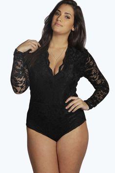 Plus size Black Lace Up Front Rose Lace Fishnet Dress Bodystockings 16-24 AU