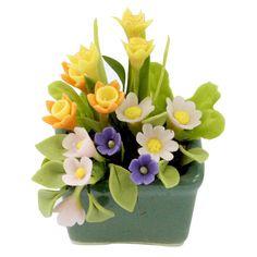 Daffodil and Daisy Miniature Polymer Clay Flowers by Mycraftgarden