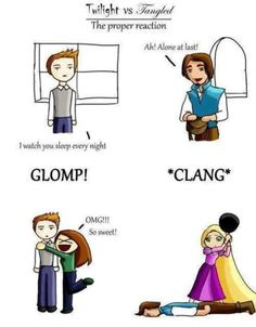 How to PROPERLY respond when someone is climbing through your window. Tangled wins. =)