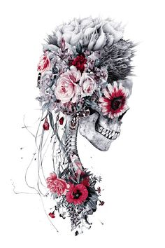 "Artwork ""Skeleton Bride"" by Riza Peker available on www.art Artwork ""Skeleton Bride"" by Riza Peker available on. Tattoo Avant Bras, Illustration Inspiration, Art Sur Toile, Skeleton Art, Skeleton Watches, Aquarell Tattoo, Totenkopf Tattoos, Skull Pictures, Skull Artwork"