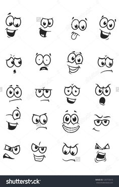 Cartoon Drawings Set of 20 cartoon faces Royalty Free Stock Vector Art Illustration: - Vector drawings of different expressions/emotions. Cartoon Faces Expressions, Funny Cartoon Faces, Drawing Cartoon Faces, Angry Cartoon, Cartoon Cartoon, Funny Cartoons, Doodle Drawings, Easy Drawings, Doodle Art