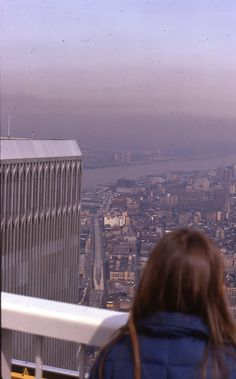 NYC. At the top of WTC,  looking North West, 1970's