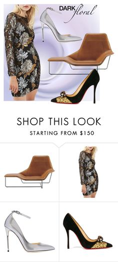 """""""In Bloom: Dark Florals"""" by victoria-ronson ❤ liked on Polyvore featuring Zanotta, Topshop, Jimmy Choo and Christian Louboutin"""
