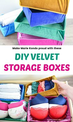 DIY Velvet Fabric Storage Boxes - Re-purpose your old cardboard storage boxes into pretty velvet organization boxes. Start organizing like Marie Kondo!