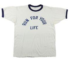 """60's プロダクツタグ """"RUN FOR YOUR LIFE"""" 染み込み リンガーTシャツ 表記(L)"""