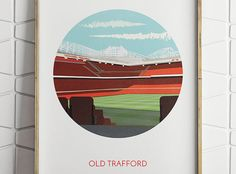 A contemporary graphic illustration of Old Trafford, or the Theatre of Dreams, the home of Manchester United Football Club. The illustration captures a view of the corner between the Sir Alex Ferguson Stand and the East Stand, from the Stretford End of the ground, with the distinct cantilever roof structure highlighting the sheer mass of what is Britains largest club stadium.  ==========  Simply print this out from your home computer or a loca...