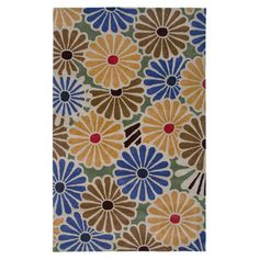 New Zealand wool rug with a contemporary floral motif. Hand-tufted in India   Product: RugConstruction Material: 100...