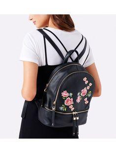 00bfec70f3828 Carmen Embroidered Backpack Black - Womens Fashion