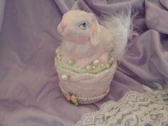 Shabby pink chic Easter BUNNY  Rabbit figurine decor new handmade roses ooak