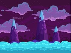 Seamless Cartoon Horizontal Cloudscape by Lilu330 Seamless cartoon horizontal cloudscape, separated layers, vector game background