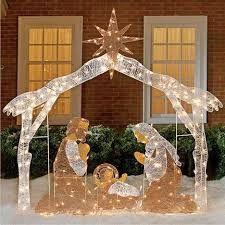 Outdoor nativity scene lighted large pre lit outside holy family lighted nativity scene available at fresh finds illuminated nativity scene celebrates the true meaning of the season browse our other new arrivals aloadofball Images