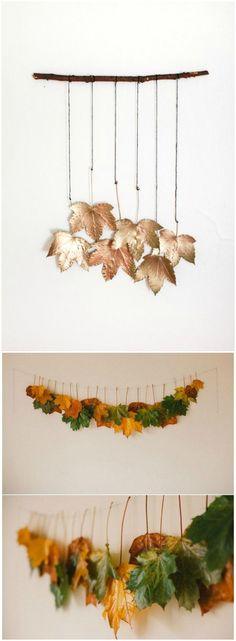 DIY hojas secas, otoño. Visto en www.ecodecomobiliario.com