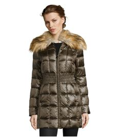 Laundry Shelli Segal Down Jacket Womens M Olive Box Quilted Faux Fur Collar Coat…