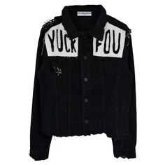 YUCK FOU BLACK DENIM JACKET (760 SEK) ❤ liked on Polyvore featuring outerwear, jackets, sweaters, tops, denim jackets and jean jacket