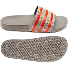 Adidas Originals Summer Men's adilette Slides collegiate silver/bliss/vivid red