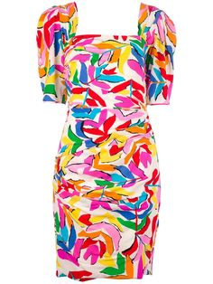 Multi-coloured silk dress from Ungaro featuring an abstracted floral print, a square neckline and a square back, short sleeves and a zip fastening at the back.